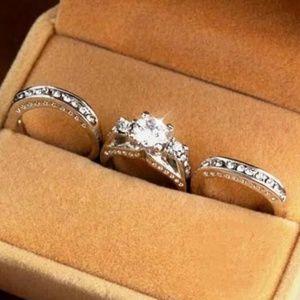 Trio Wedding Ring Set 4.25 CT. in white filled gol